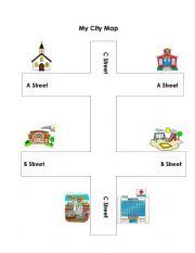 English Worksheet: My City Map
