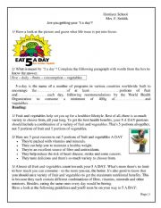 English worksheet: unit 4 lesson 1 five a day