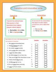 English Worksheet: Transitive and intransitive verbs