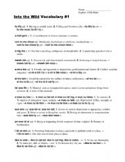 English Worksheet: Into the wild vocabulary