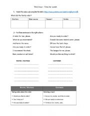 English Worksheet: Time for lunch - at the restaurant activities