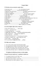 English Worksheet: Complex Object