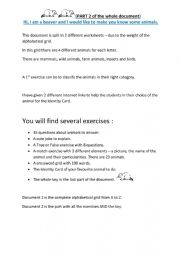 Animals - part 2 on 2 - exercises and key.