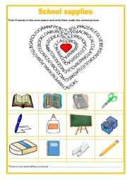 Wordsearch - Scool supplies
