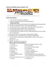 English Worksheet: TV Series - Listening Malcolm in the middle - Pilot