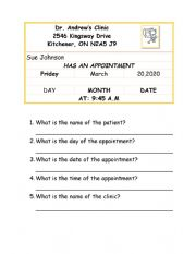 English Worksheet: Doctor�s Appointment Card