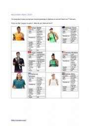 English Worksheet: Australian Open 2020 Worksheet