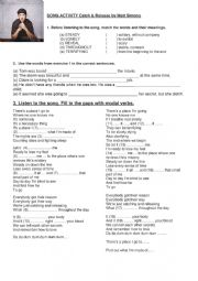 English Worksheet: Song Catch & release Modals and phrasal verbs