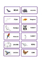 English Worksheet: animal domino for movers
