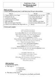 English Worksheet: You�ll be in my heart by Phil Collins
