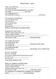 English Worksheet: Hall of Fame - Song Lyrics Gap Filling