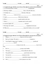 English Worksheet: Degrees of comparison of adjectives and adverbs