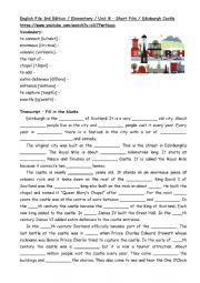 English Worksheet: A visit of Edinburgh