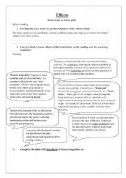 English Worksheet: effects of brain drain