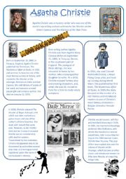 English Worksheet: Agatha Christie A biography Reading comprehension