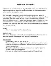 English Worksheet: What�s on the Menu