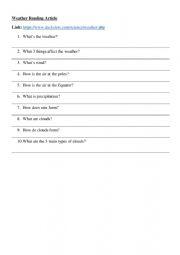 English Worksheet: Weather Reading Article