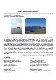English Worksheet: Energy renewable and nonrenewable