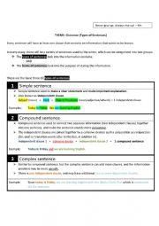 English Worksheet: Types & Forms of Sentences