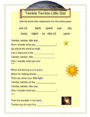 Twinkle Twinkle Little Star - Rhyming Words