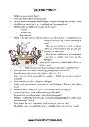 English Worksheet: (un)employment