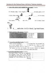 English Worksheet: some revision exercices for the national exam /6th form