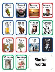 Similar words flashcards