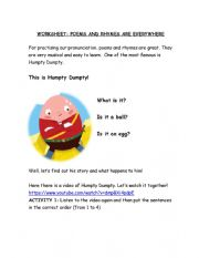 English Worksheet: Humpty Dumpty Rhyme Worksheet