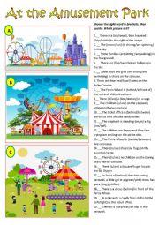 English Worksheet: At the amusement park