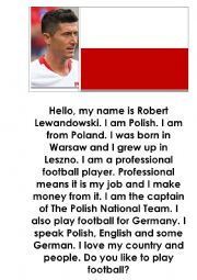 English Worksheet: I am Robert Lewandowski from Poland
