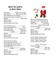 English Worksheet: Must Be Santa - a song worksheet for beginners and above