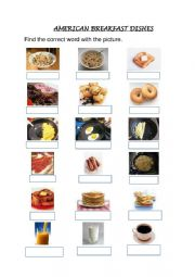English Worksheet: American dishes