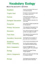 English Worksheet: Ecology Vocabulary