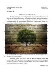 English Worksheet: Deforestation