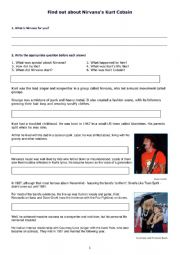 English Worksheet: Find out about Nirvana