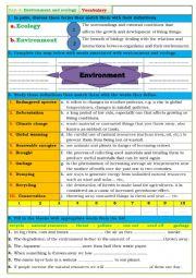 English Worksheet: environment and ecology