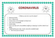 English Worksheet: Coronavirus