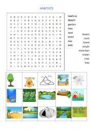 English Worksheet: Habitats word search