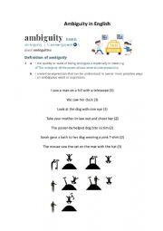 English Worksheet: Ambiguous sentences