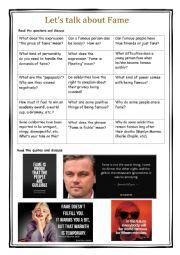 English Worksheet: Let�s Talk about Fame