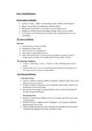 English worksheet: world religions