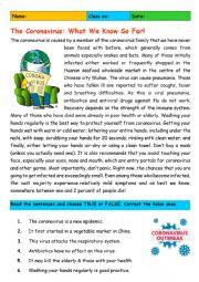English worksheet: The Coronavirus: What We Know So Far!