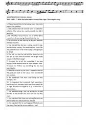 English Worksheet: Reported Speech through Songs 2