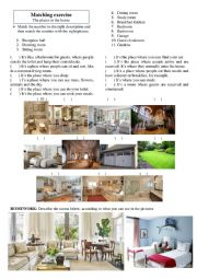 English Worksheet: House rooms - matching descriptions