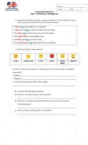English Worksheet: expressing preferences: likes and dislikes