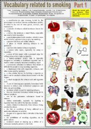 Smoking Vocabulary Part 1 - Pictionary + matching definitions + KEY