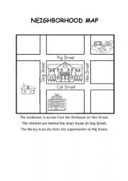 English Worksheet: Neighborhood Map