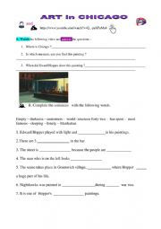 English Worksheet: Art in Chicago KEYS included!