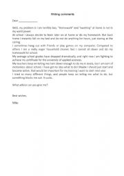 English Worksheet: letter to the agony aunt