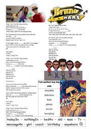 English Worksheet: Bruno Mars - Lazy song